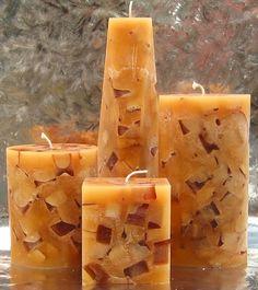 Amber Aromatherapy Chunk Pillar Candles  Blend: Lavandin, Sage, Orange, Musk, Cedar, Cinnamon  Aromatherapy: Centering, Balancing, Purifying, Uplifting