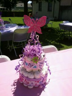 Butterfly diapercake for babyshower