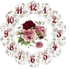 Clock *very Pretty* Decoupage Vintage, Vintage Diy, Vintage Labels, Vintage Images, Clock Art, Diy Clock, Clocks, Clock Vintage, Clock Printable