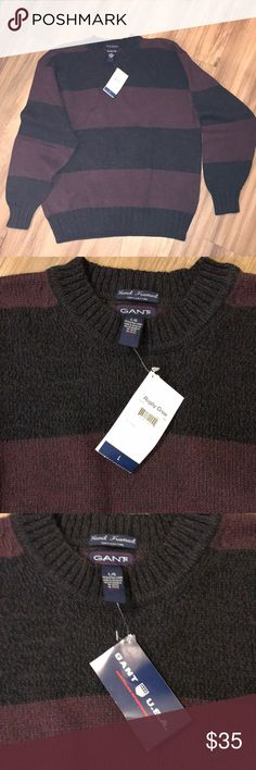 Giant men's sweater sz L New Rugby Crew BNWT Rugby Crew hand framed knit cotton sweater by GANT. Size large. A grey and brick color really nice Gant Sweaters Crewneck