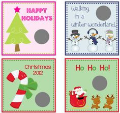 Christmas Party Game Scratch Off Cards by beadedink on Etsy, $6.00 Love this idea!