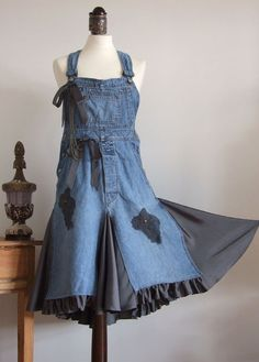 Decadent blue denim jumper DRESS it has it all silky by couvert - StyleSays
