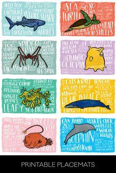 Fun Fact Placemats: Sea Creatures