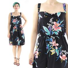 80s Floral Cotton Sun Dress Navy Floral Dress by honeymoonmuse