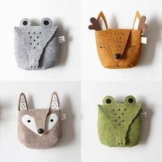 Fox Bag Doll Accessories Sewing For Kids Diy For Kids Toddler Boy Gifts Baby Couture Sewing Crafts Sewing Projects Felt Fabric Felt Diy, Felt Crafts, Kids Crafts, Clay Crafts, Fabric Crafts, Felt Pouch, Animal Bag, Kids Bags, Felt Animals