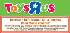 Toys R Us & Cineplex Canada Offers: Receive a FREE Despicable Me 3 Cineplex Child Movie Voucher http://www.lavahotdeals.com/ca/cheap/toys-cineplex-canada-offers-receive-free-despicable-3/213170?utm_source=pinterest&utm_medium=rss&utm_campaign=at_lavahotdeals