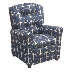 Brazil Furniture 4-Button Back Child Recliner - Navy Anchor | from hayneedle.com