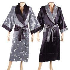 Chinesische Kunst Kimono Morgenmantel Grau - Kaufen bei Dee Plus Limited Partnership