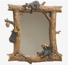 RARE Big Sky Bearfoot Honeybears Mirror Measures 25 x 18 Beautifully hand carved sculpted piece! - has one little scuff on the bottom right that reveals 'lighter wood' and looks nat Rustic Bedroom Furniture, Reclaimed Furniture, Log Furniture, Rustic Bedrooms, Western Furniture, Furniture Design, Black Bear Decor, Cabin Bathrooms, Rustic Mirrors
