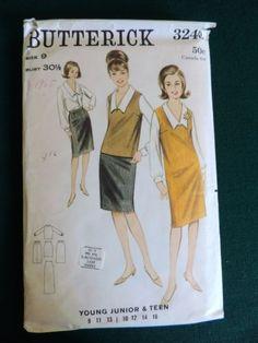 1960-039-s-VTG-Butterick-3240-Pattern-Dress-Blouse-Skirt-Size-9-Bust-30-1-2-UC