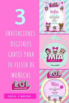 L surprise - Invitaciones digitales Funny Birthday Cakes, Diy Birthday, Surprise Birthday, Party Kit, Art Party, Candy Bar Party, Party Pops, Invitation, Doll Party