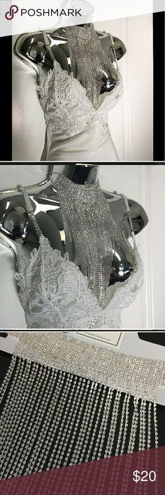 Gorgeous rhinestone rainfall choker Silver rhinestone choker Jewelry Necklaces