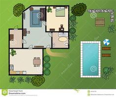 https://fr.dreamstime.com/illustration-stock-plan-de-maison-de-campagne-avec-des-meubles-image45546700