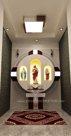 Resultado de imagen para christian prayer room designs for home Mandir Design, Pooja Room Design, Home Room Design, House Design, Home Altar Catholic, Bungalow Haus Design, Church Interior Design, Altar Design, Prayer Corner