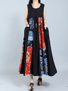 Brand: Gracila Specification: Sleeve Length:Sleeveless Neckline:Hoooded Color:Black Style:Vintage Dress Length:Mid-Calf Pattern:Patchwork Material:Polyester Season:Summer Package included: 1*Dress
