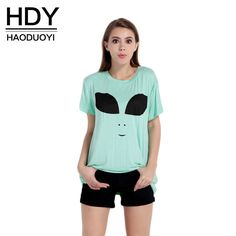 Hdy Haoduoyi 2017 Summer Fashion Women Tee Alien Print T-Shirt Harajuku Light Green O-Neck Short Sleeve Tees Women Tops  $18.00 www.ShopDulceVida.com . . #shirt #Top #lace #me #and #jumpsuits #sweatshirts #wanelo #blazer #instagood #sweaters #Quick #earrings #atlanta #bottoms