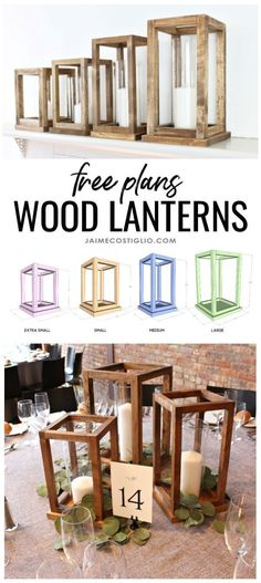 - A DIY tutorial to build wood lantern centerpieces. Free plans for four sizes of wood lanterns perfect for your party table decor and reusable too! A DIY tutorial to build wood lantern centerpieces. Free plans for four sizes of wood l Kids Woodworking Projects, Diy Wood Projects, Woodworking Crafts, Easy Projects, Woodworking Bench, Woodworking Classes, Woodworking Workshop, Youtube Woodworking, Woodworking Shop