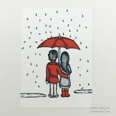 Under the Umbrella, Love Doodle Series - Tami Boyce Love Doodles, Little Doodles, Cardboard Packaging, Singing In The Rain, Love Illustration, Share The Love, Darning, Red Accents, Better Together