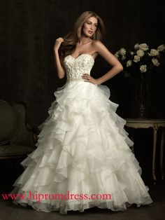 Ball-gown Floor Length Sweetheart Dress White/Silver Organza Allure 1012 With Beads Layered Button
