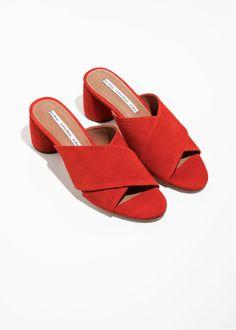195546936c48 Back image of Stories criss cross slide sandals in orange Simple Sandals