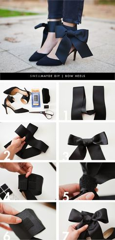 In fashion, even the smallest details can create a big impact. Just changing up a few things here and there can make an item look brand new. Take this pair of heels for example. Just adding a DIY bow gives it an interesting new look. It can transform even