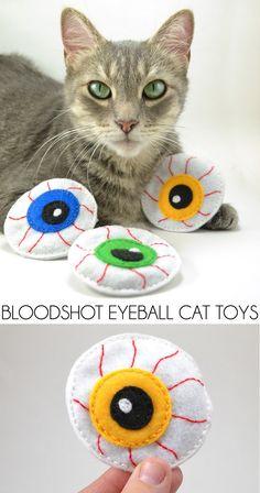 Bloodshot Eyeball Catnip Toys for Halloween - Dream a Little Bigger