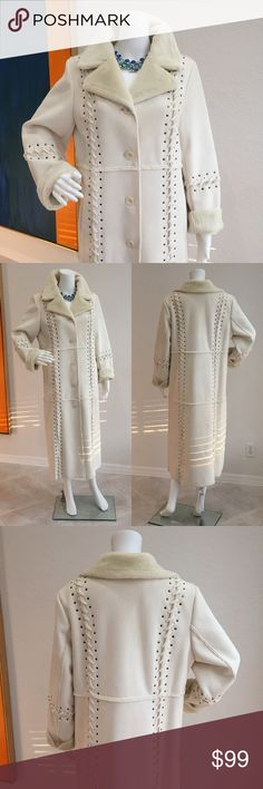 Coat Dennis Brasso Boutique for QVC.  Stunning off white suede cloth with reverse side a short napped fur look .  Beautiful matching lacing and silver/grey studs down the front and back and sleeves. WOW.  The photos do not do this coat justice.  Sorry. Dennis Brasso Jackets & Coats