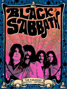 Black Sabbath vintage poster The Paradiso Amsterdam 1970 - Black Sabbath vintage poster The Paradiso Amsterdam 1970 by PetesRetroPosters on Etsy - Rock Vintage, Psychedelic Rock, Rock Posters, Art Posters, Black Sabbath, Hard Rock, Vintage Concert Posters, Rock Legends, Pop Rocks