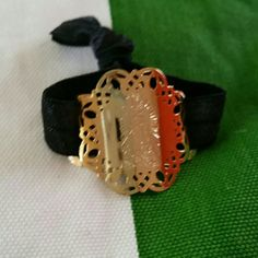 La Guadalupana, our Lady of Guadalupe 18k gold plated, organza elastic ribbon, so fits any size Jewelry Bracelets