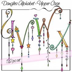 Dangles Alphabet - Upper Case is a whimsical watercolored alphabet with and without colorful dangles for a total of 52 letters. All of the letters are close to the same size but the length of the dangles varies. Doodle Alphabet, Alphabet Art, Alphabet And Numbers, Letter Art, Alphabet Fonts, Doodle Lettering, Creative Lettering, Lettering Styles, Typography