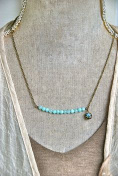 Light blue beaded gemstone bar necklace. by tiedupmemories on Etsy