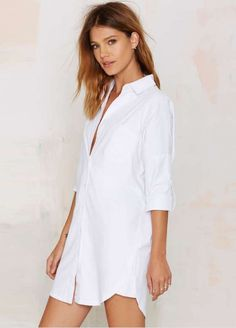 White Boyfriend Curve Bottom Half Sleeve Pocket Shirt Dress