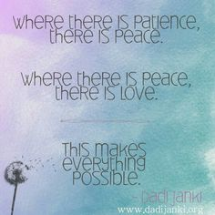 Where there is patience there is peace. Where there is peace there is is love. This makes everything possible. #dadijanki #quotestoliveby #patience #peace #love #virtue #possibility #instadaily #instalike #spirituality #happy #vibe #makeithappen #carefree #light #bestoftheday #instagramhub #follow #selfdevelopment #journey #omshanti #igers