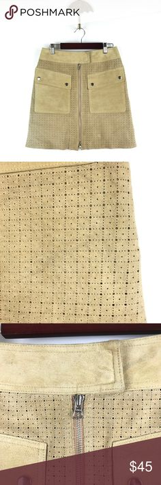 """Margaret Godfrey Suede tan leather skirt Sz 4 686 Margaret Godfrey Sz 4 Women's Perforated Laser Cut Suede Leather Skirt Tan 686  Measurements: Waist:  14"""" Flat Across Length: 17"""" Long  In good preowned condition with no known flaws and light overall wear, loose inside button but is still firmly attached light overall wear to suede see all images. margaret godfrey Skirts Mini"""