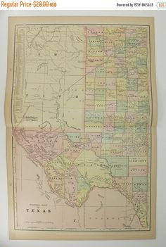 Antique Texas Map Lone State Star Map Texas Gift TX Map - Maptexas