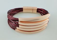 Modern Burgundy Multi Strands & Gold Tube Beads Bracelet Lagenlook Bangle