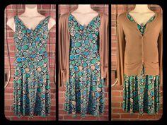 Evan-Picone blue teal tan pattern dress, side zipper 12 $15; Halogen camel cardigan L $15