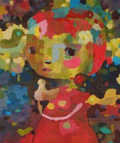 Girl and Bird by amy huddleston