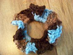 Hand Crocheted Hair Scrunchies    Dark Brown by acraftylady812