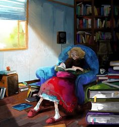 Young Lady Reading by Kim Ji-Hyuc