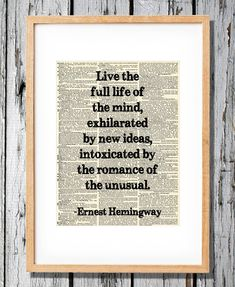 Ernest Hemingway Quote on Life - Art Print on Vintage Antique Dictionary Paper on Etsy, $8.99