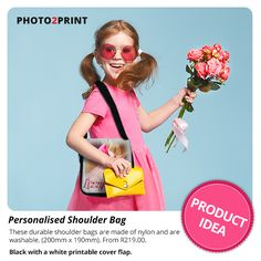 Easy to create Shoulder Bags. You can personalise the entire front flap with your favourite photo. #coolbag #forcoolkids #ordernow