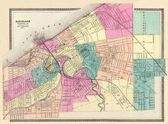 Antique Cleveland  city map Print  16 x 22 by AncientShades, $30.00