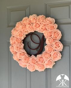 ROSE MONOGRAM WREATH. Blush Rose Wreath. Blush Door Wreath. Blush Wedding Wreath. Holiday Wreath. Wedding Gift. Pick Color Welcome Wreath