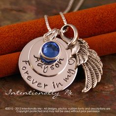 Hand Stamped Jewelry - Remembrance Necklace - Personalized Sterling Silver Necklace - Forever in my heart. $48.00, via Etsy.