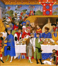 "This illumination is from Duc de Berry's Book of Hours, depicting the month of January. It probably shows the Twelfth Night banquet, as during the Middle Ages the focus of the Christmas festivities tended to be during the Twelve Days of Christmas, and after the Advent Fast. Recipe for a 15th century English ""Goose in a Garlic and Grape Sauce"" via the link."