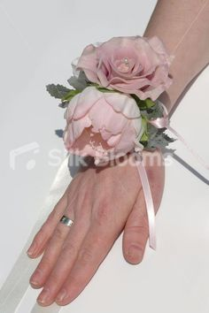 peony corsage wristlet | Dusky Pink Real Touch Rose & Peony Wedding Wrist Corsage