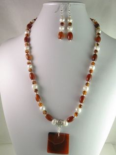 Red Agate Pendant Necklace w/Freshwater by NaturesJewelsByVina, $49.99
