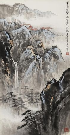 Ying Yeping View of Jinggang Mountains, 1974 Hanging scroll, ink and color on paper, inscribed and signed Ying Yeping , dated with two artist's seals reading Yeping and Yuejin renjian chunse. 27 x 14 x 應野平 井岡山勝境 設色紙本 立軸 Chinese Brush, Chinese Art, Watercolour Art, Ink Painting, Waterfall Paintings, Chinese Herbs, Chinese Painting, Brush Strokes, Oriental