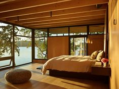 Cantilevered bedroom with a view in a waterfront retreat nestled into the wooded shorelines of San Juan Islands, Washington [2000×1499] : RoomPorn